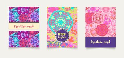 Defina cartões étnicos, convites, folhetos, banners a4.