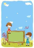 Plantilla del ejemplo del diseño del vector del clip art de los niños
