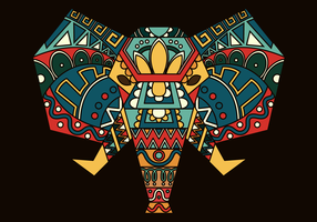 Bohemian Color Painted Elephant vector Illustration