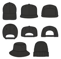HAT set Fashion Flat Sketche vector template