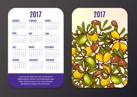 Pocket calendar with eco-products, fruits and branches Argan.