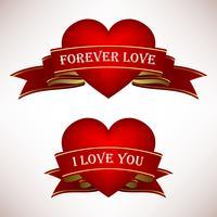 Valentine Love Heart Ribbon Scroll Banner.