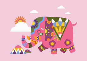 Colorfull Painted Elephant Vector Flat