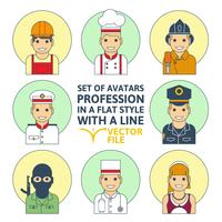 Set of colorful Different profession people flat style