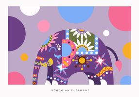 Bohemian Color Abstract Elephant Vector Flat