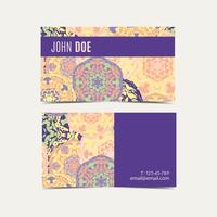 Template business cards with oriental Islamic mandala  pattern.