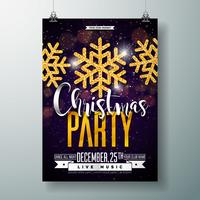 Merry Christmas Party Poster Design Template vector