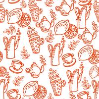 Red Seamless Pattern with Tea Cups.