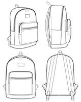 Backpack Fashion flat technical drawing vector template