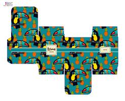 Template pattern decorative gift box with tropical toucan. vector