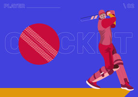 Cricket Player Character Vector Flat Illustraion