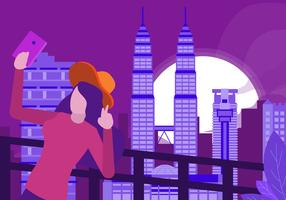 Selfi bij Kuala Lumpur-Oriëntatiepunt vector Vlakke Illustratie