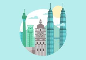 Maleisië Kuala Lumpur Landmark Flat Vector Illustration