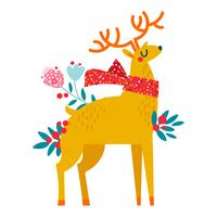 Christmas reindeer in flowers