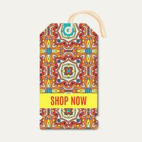 Tag with Talavera, Mexican bright ornament