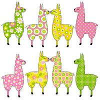 cute llamas with floral patterns