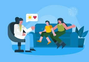 Medical Checkup For Mental Health Vector Illustration