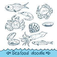 Seafood, painted in the style of doodle, sketch, Scribble.