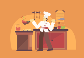 Professional Chef Cooking Vector Character Illustration
