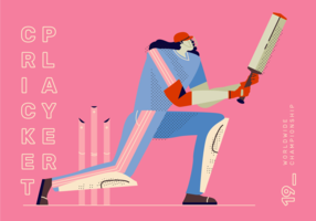 Cricket Player Striking vector Illustration