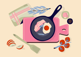 Cooking Healthy Food On Pan Vector Illustration