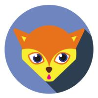 Cute little fox icon. Flat long shadow design.