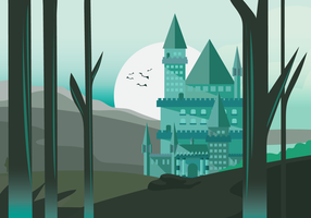 Wizard School Castle Vector Background Illustration