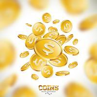 Ilustración realista de las monedas de oro en fondo limpio