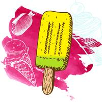 Doodle ijs bevroren dessert stijl schets