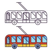Classic trolleybus flat icon, line icon. Round headlights.