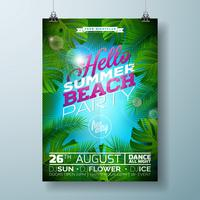 Vector Summer Beach Party Flyer Design with typographic design