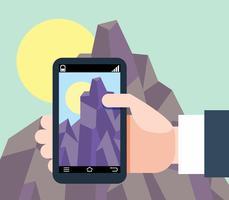 Moderno design piatto uomo che tiene smartphone con navigazione mobile gps