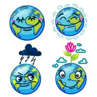 set of cute cartoon globes with emotions
