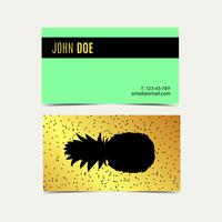 Business cards With pineapple vintage gold background.