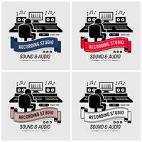 Estúdio de gravação e design de logotipo de engenharia de som.