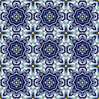 Blue ornament traditional Portuguese azulejos. Oriental seamless pattern