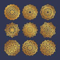 Set of gold mandalas. Indian wedding meditation.