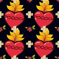 Sacred Heart, cross, rose seamless pattern old schooll tattoo style.