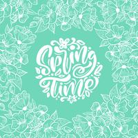 Vector floral frame for greeting card with handwritten text Spring Time. Isolated flat scandinavian illustration on turquoise background pattern. Hand drawn nature design