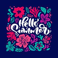 Bloem Vector wenskaart met tekst Hallo zomer. Geïsoleerde gekleurde bloemen vlakke illustratie. Scandinavisch hand getrokken aardontwerp