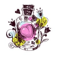 Romantic love potion. Heart of an elixir  vector