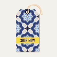 Tag avec les azulejos d'ornement bleu portugais.
