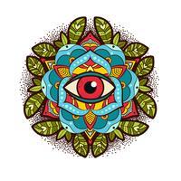 Dekorative Pfingstrose, Rosenblüte mit einem Auge der Vorsehung. vektor