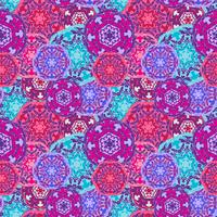 Gypsy seamless pattern of abstract multicolored round mandalas. Ethnic background