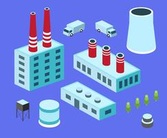 Set  flat isometric style factory