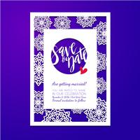 Save the date card. Laser cutting pattern.