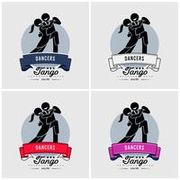 Dancing club or class logo design.  vector