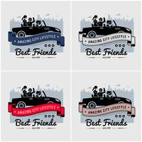 Best friends and friendship logo or banner design.  vector