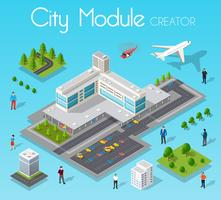 Isometric set module city with an airport