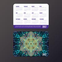 Pocket Calendar. Mandala design template
